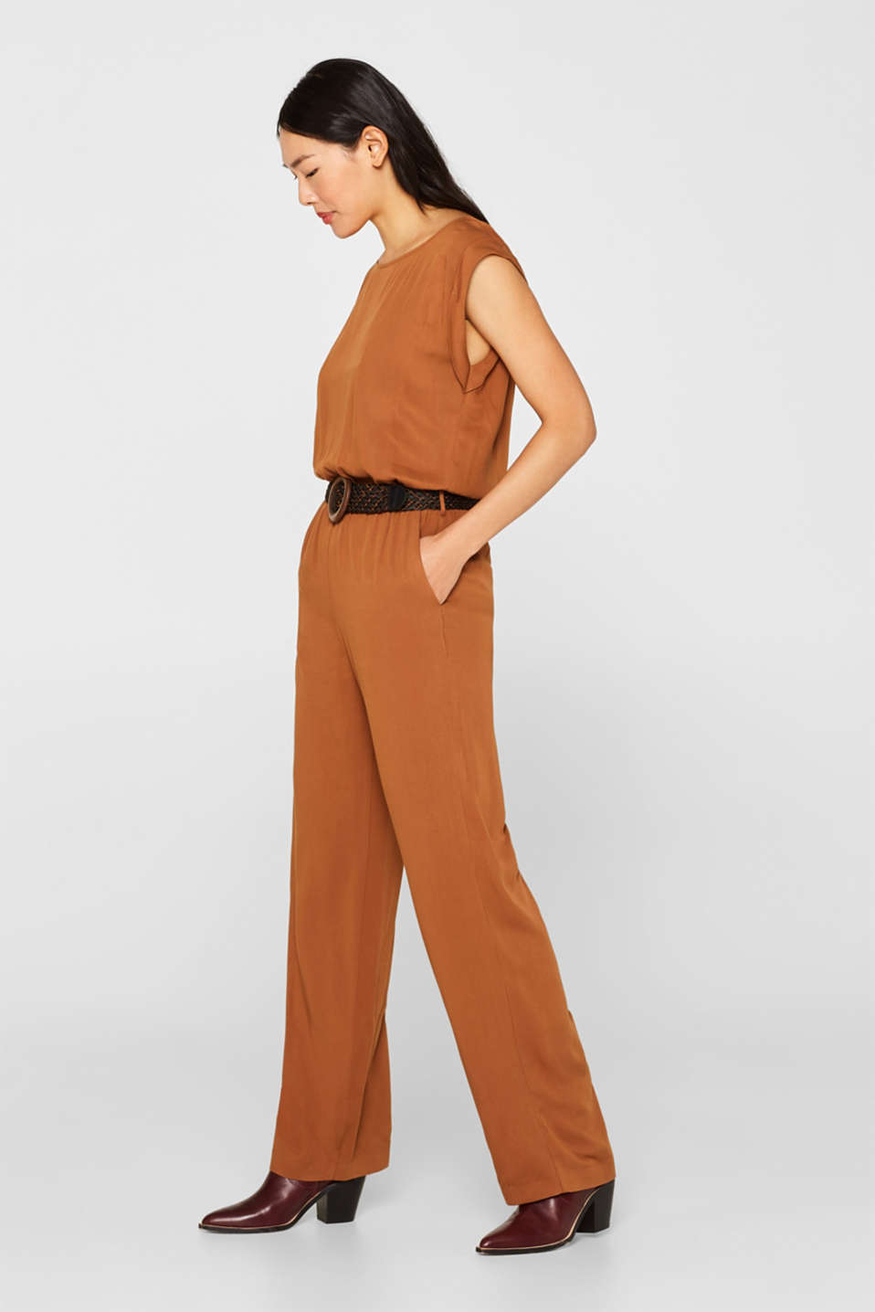 Jumpsuit with a braided belt, TOFFEE, detail image number 5