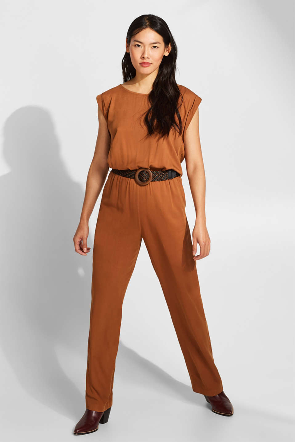 Jumpsuit with a braided belt, TOFFEE, detail image number 1