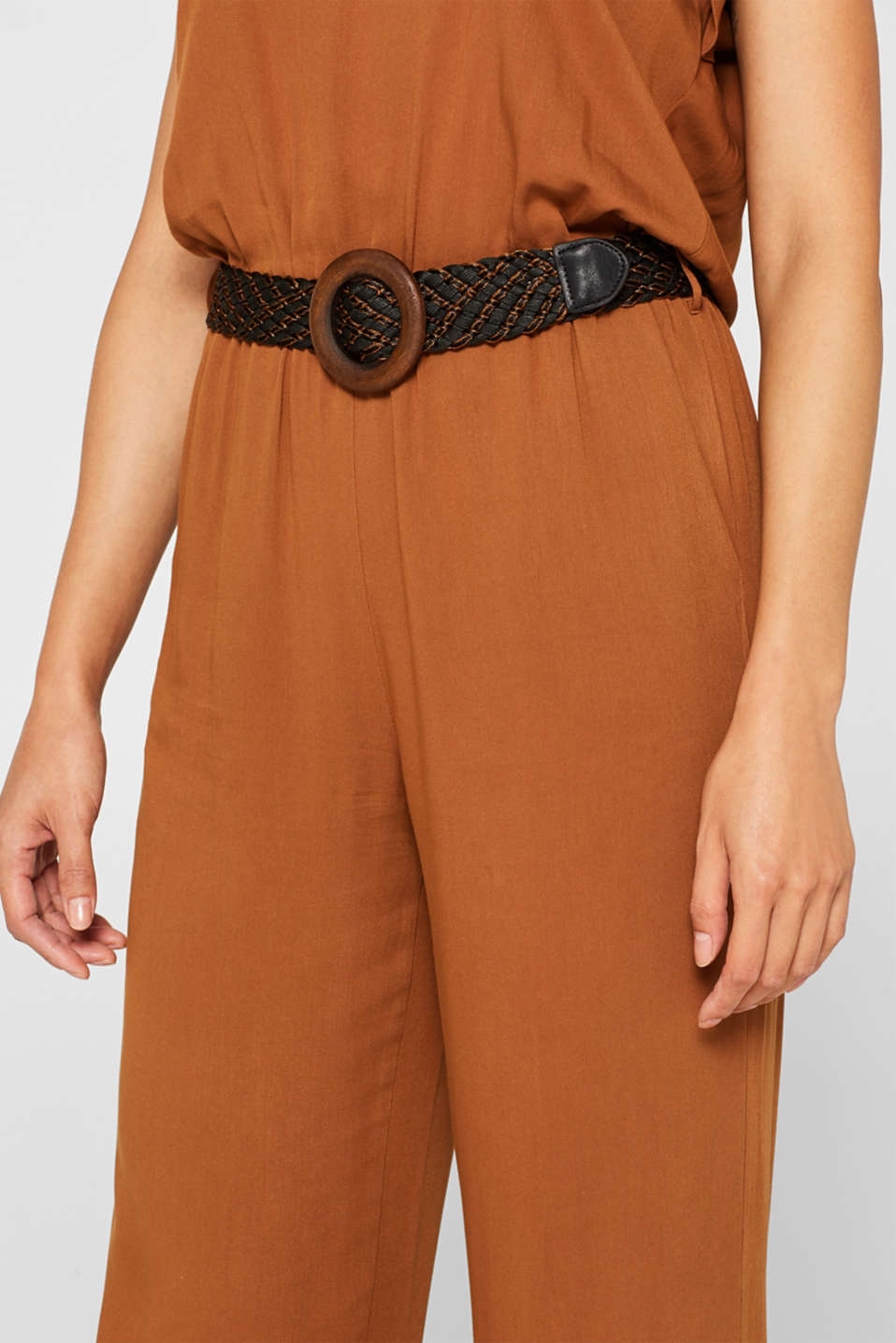 Jumpsuit with a braided belt, TOFFEE, detail image number 2