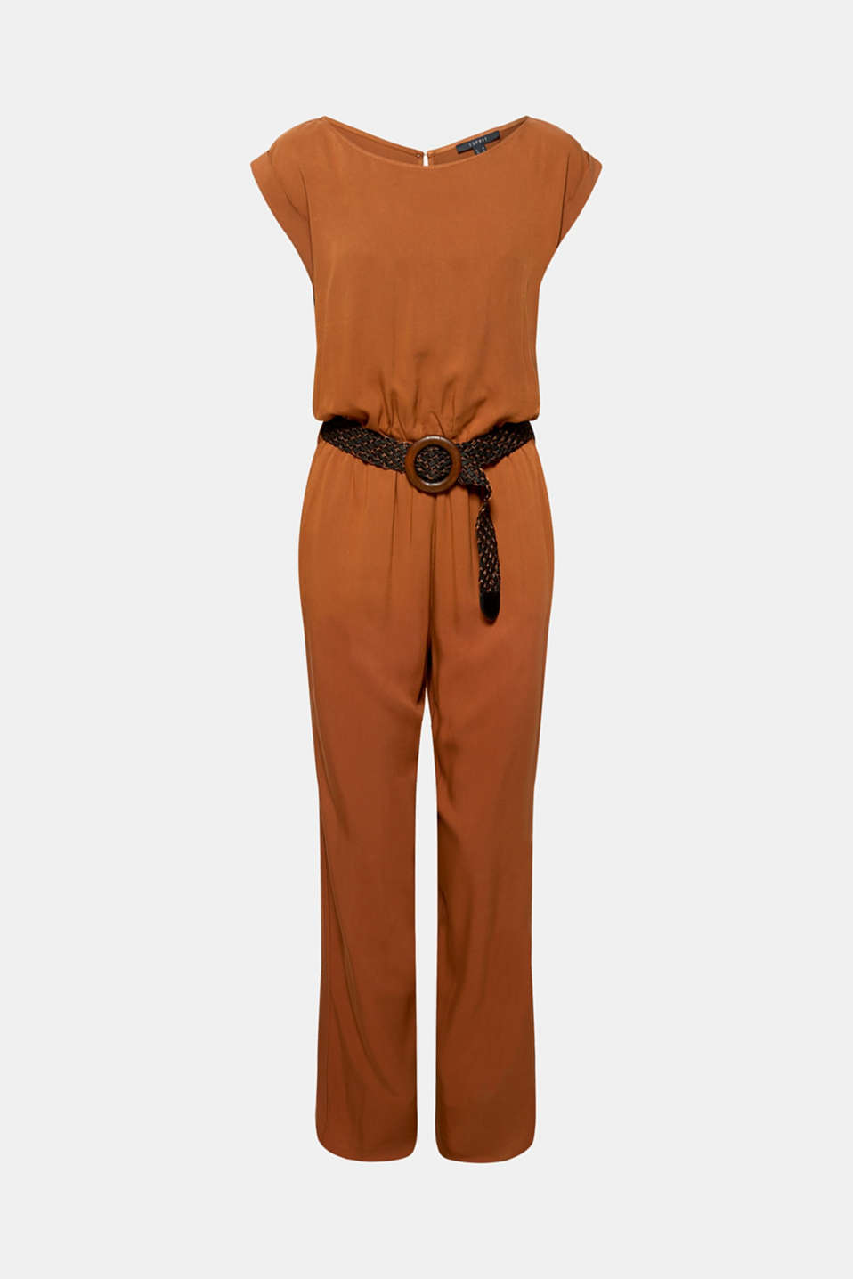 Jumpsuit with a braided belt, TOFFEE, detail image number 7