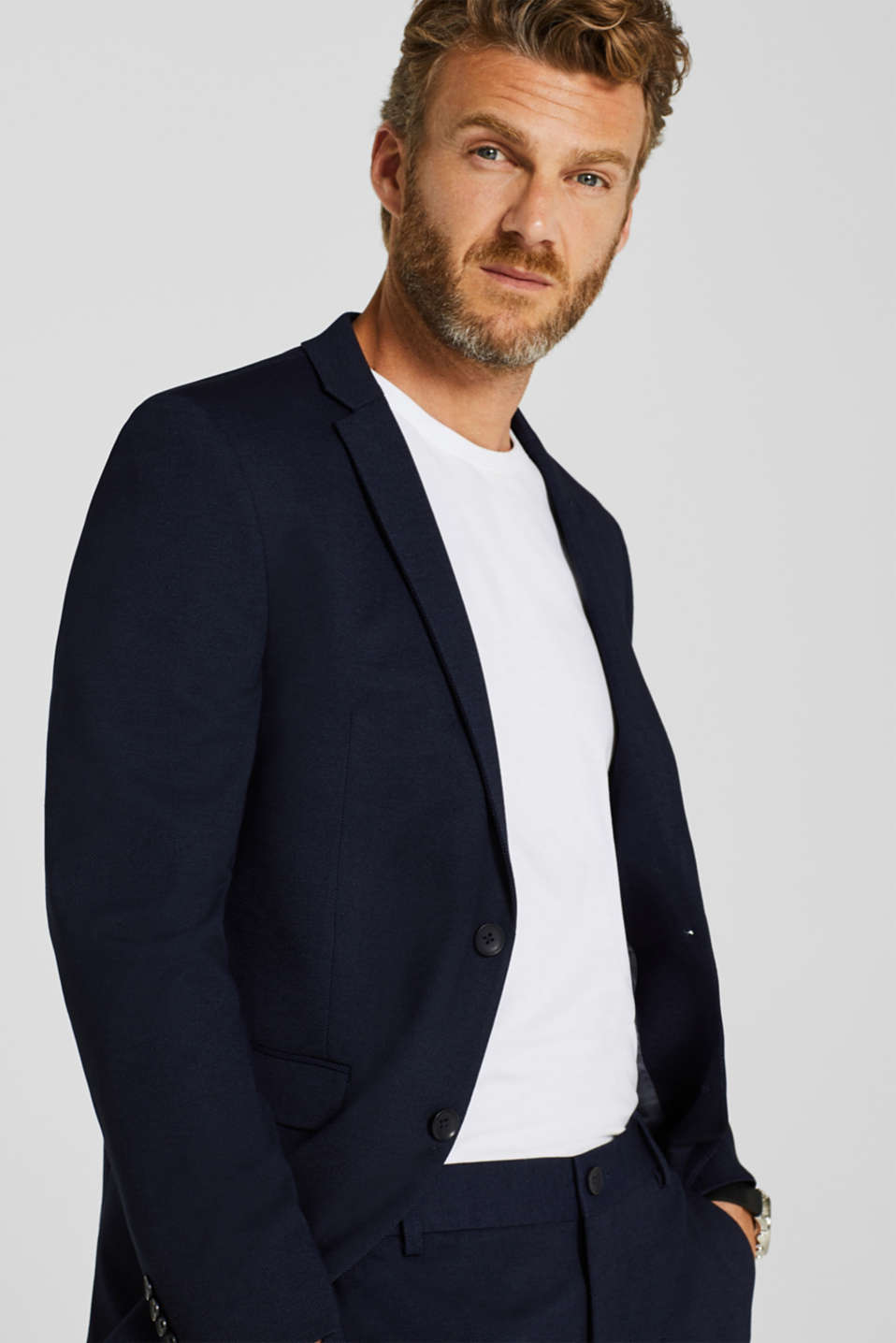 COMFORT SUIT mix + match: Textured jacket, NAVY, detail image number 4