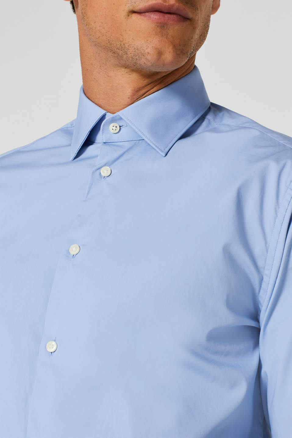 2-pack of business shirts, stretch cotton, LIGHT BLUE, detail image number 2