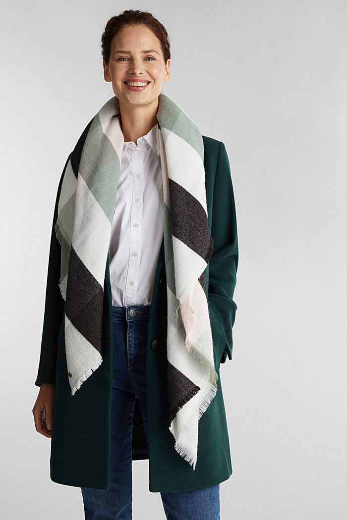 Wool blend: soft check scarf, recycled