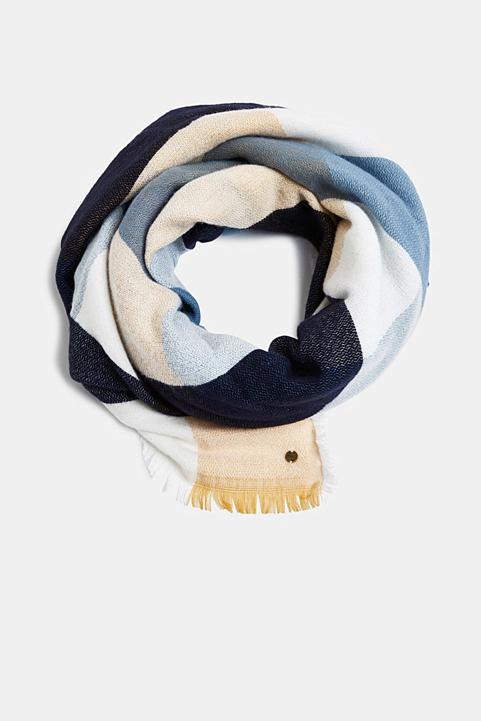 Wool blend: soft check scarf, recycled, BLUE, detail image number 0