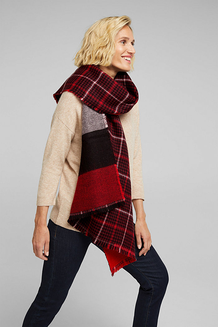 Recycled: double-faced scarf with checks
