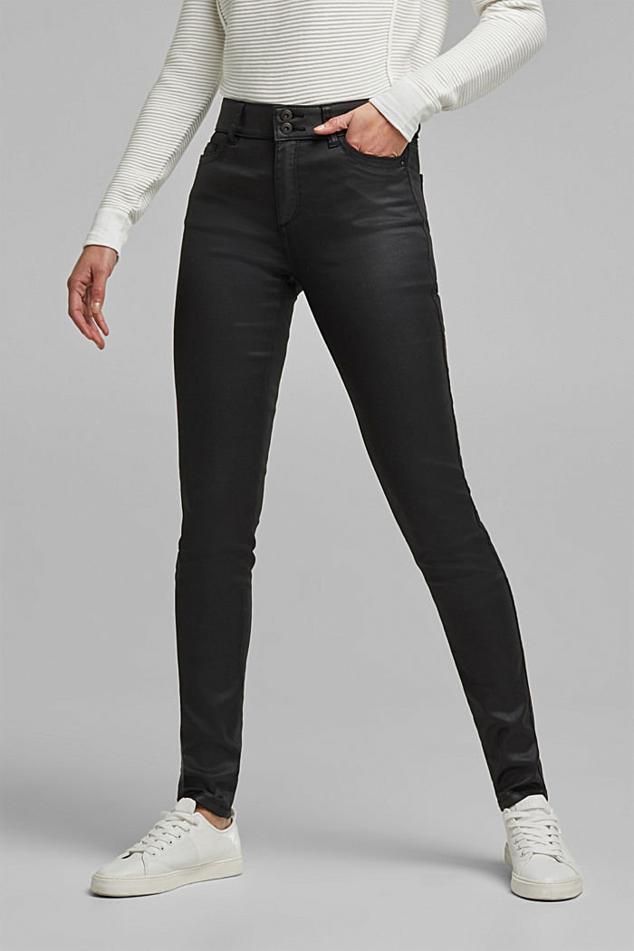 Coated stretch trousers with two buttons, BLACK, detail image number 0
