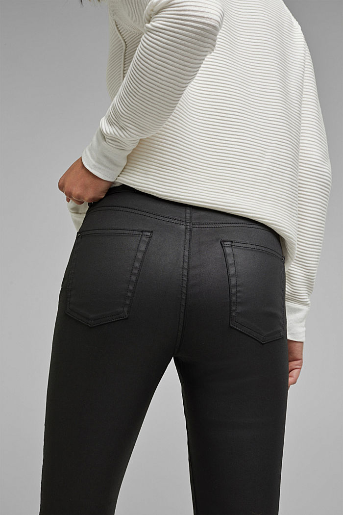 Coated stretch trousers with two buttons, BLACK, detail image number 2
