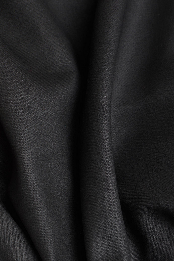 Coated stretch trousers with two buttons, BLACK, detail image number 4