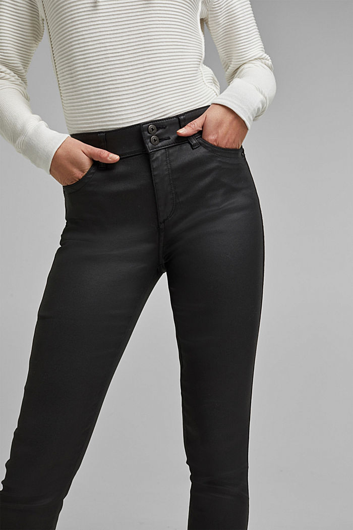 Coated stretch trousers with two buttons, BLACK, detail image number 5