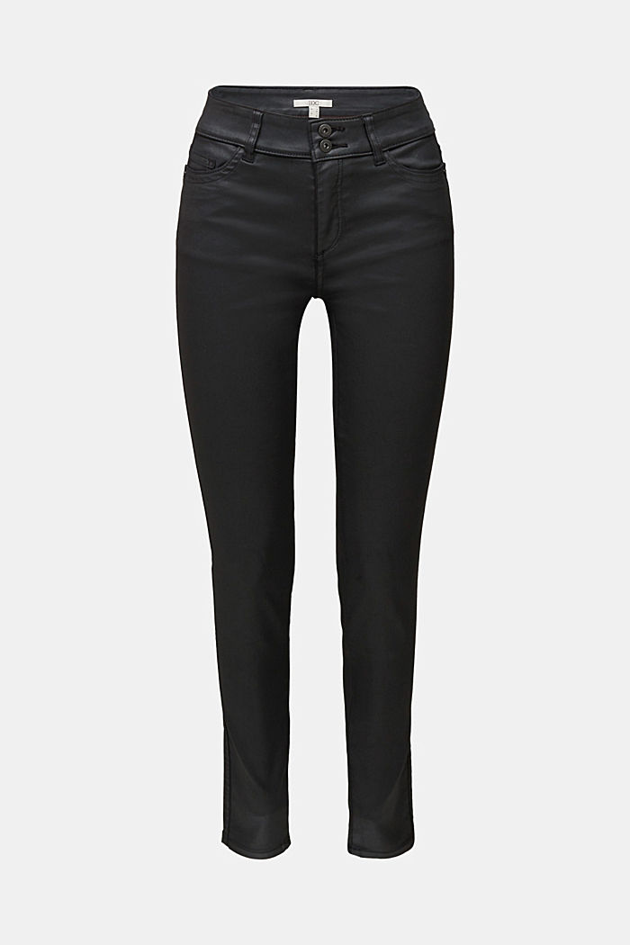 Coated stretch trousers with two buttons, BLACK, detail image number 6
