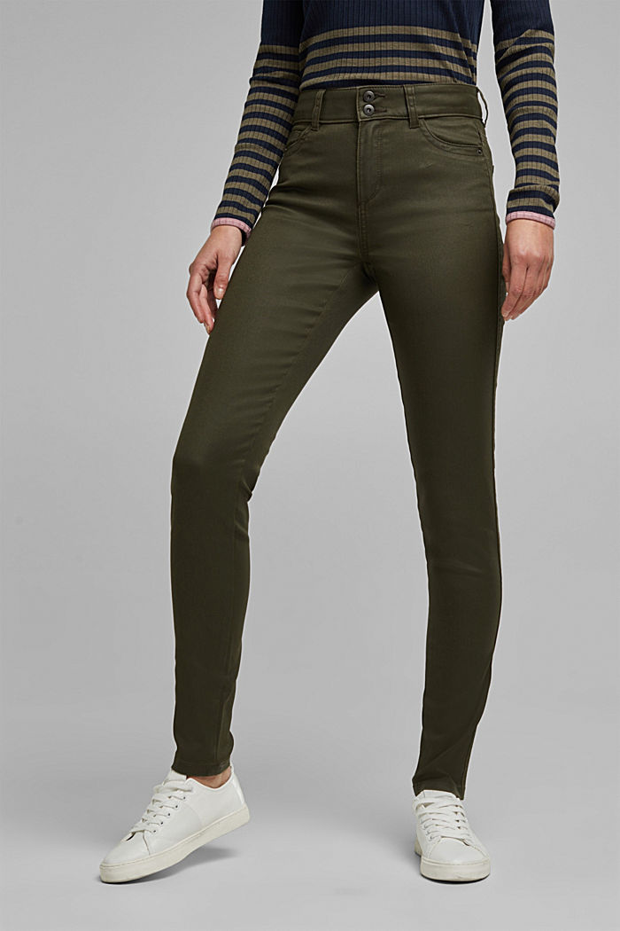 Coated stretch trousers with two buttons, DARK KHAKI, detail image number 0