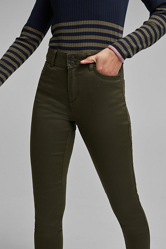 Coated stretch trousers with two buttons, DARK KHAKI, detail image number 2