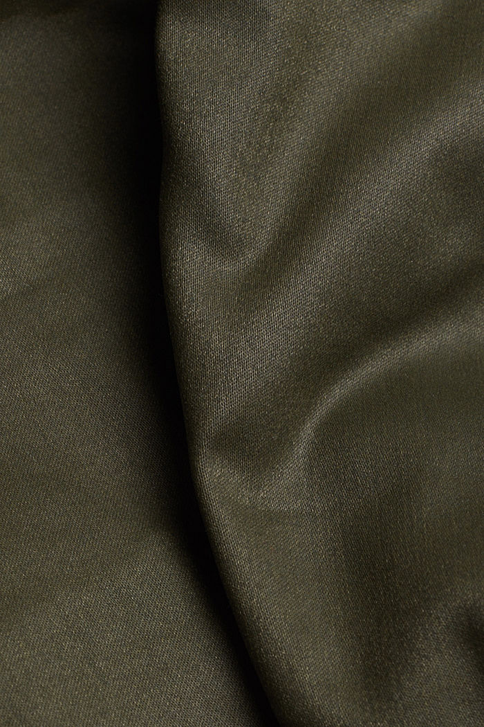 Coated stretch trousers with two buttons, DARK KHAKI, detail image number 4