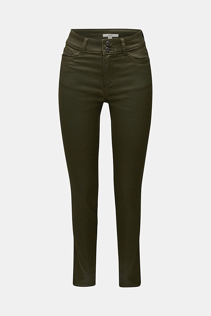 Coated stretch trousers with two buttons, DARK KHAKI, detail image number 5