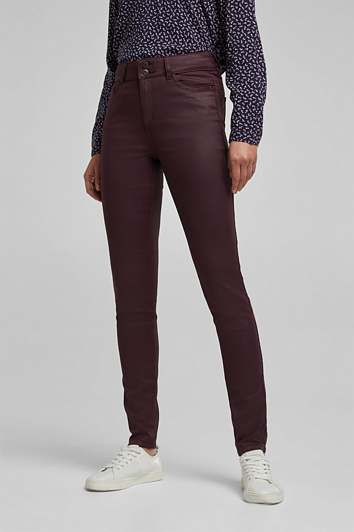 Coated stretch trousers with two buttons, BORDEAUX RED, detail image number 0