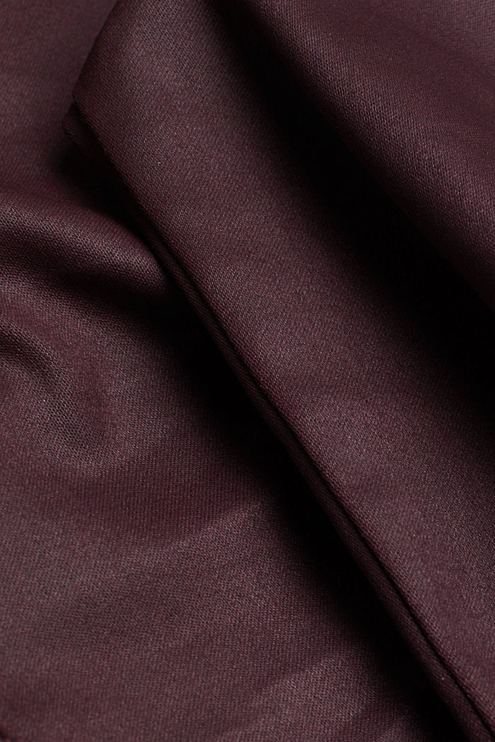 Coated stretch trousers with two buttons, BORDEAUX RED, detail image number 4