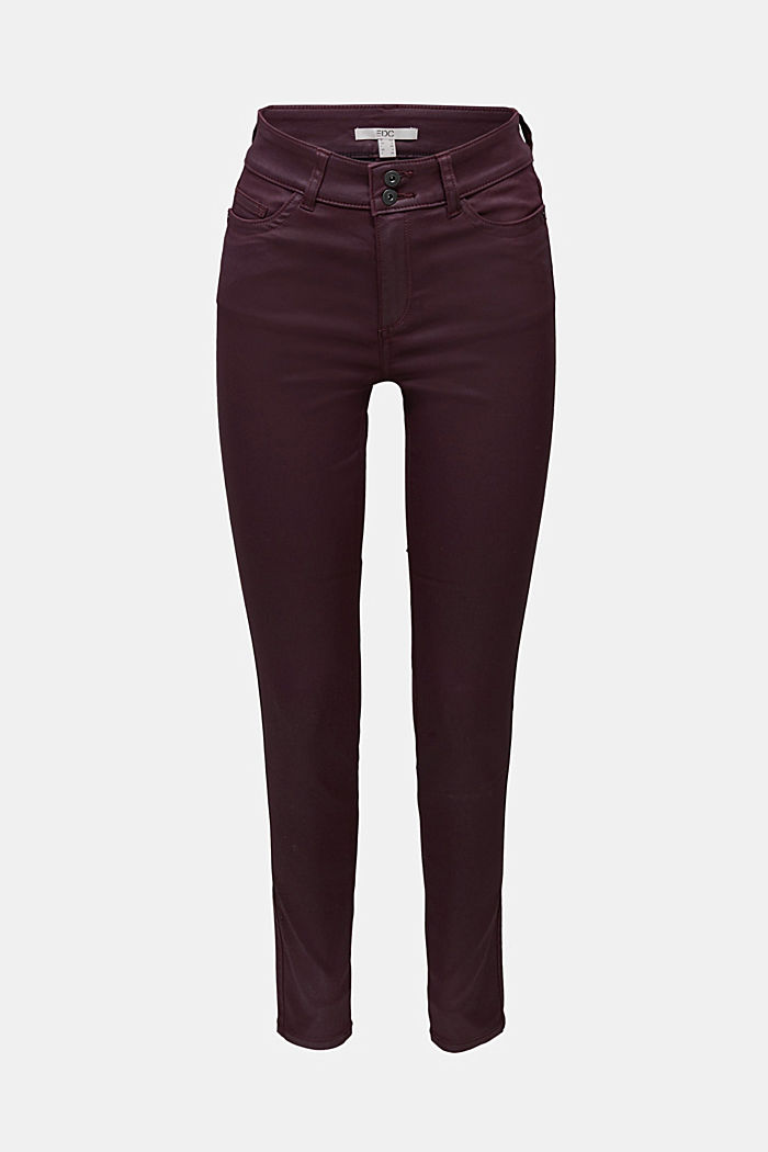 Coated stretch trousers with two buttons, BORDEAUX RED, detail image number 5