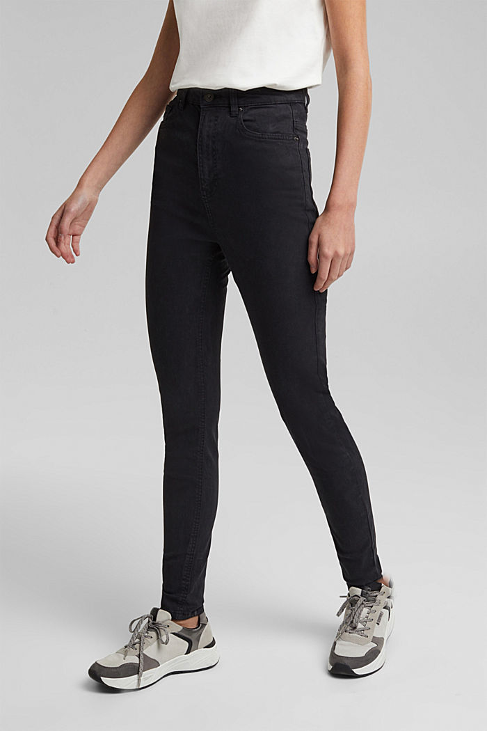 Super high-rise jeans with organic cotton, BLACK, detail image number 0