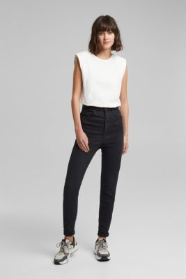 Super high-rise jeans with organic cotton, BLACK, detail
