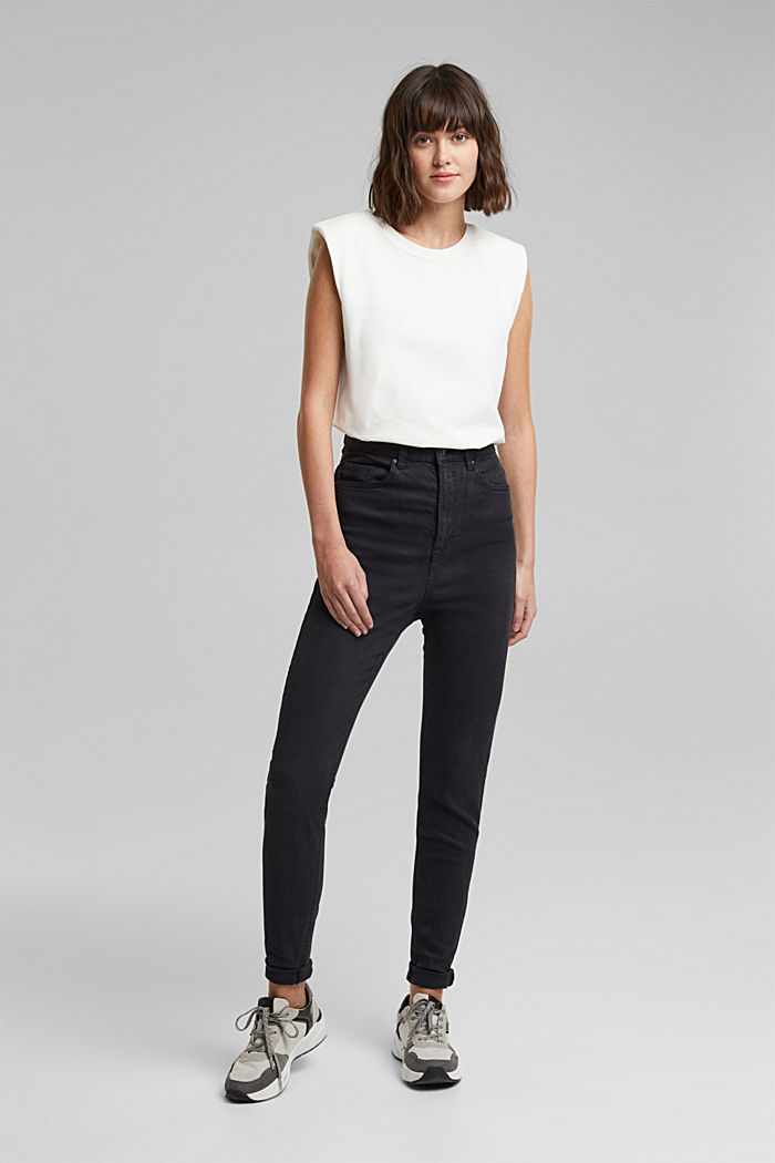 Super high-rise jeans with organic cotton, BLACK, detail image number 1