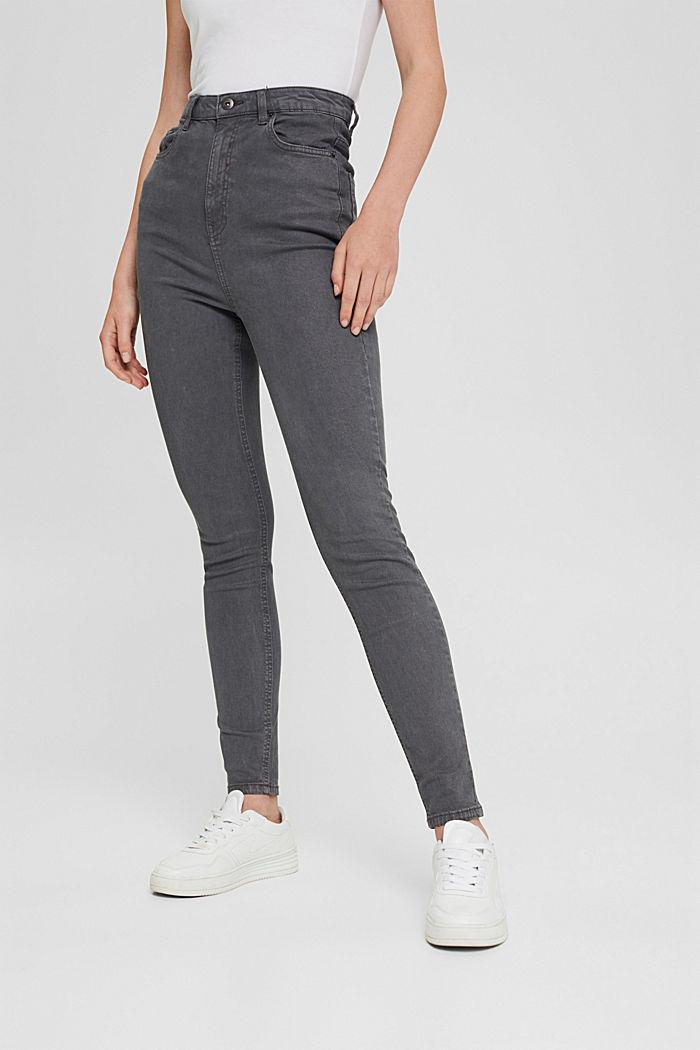 Jeans med extra hög midja och ekologisk bomull, GUNMETAL, detail image number 0