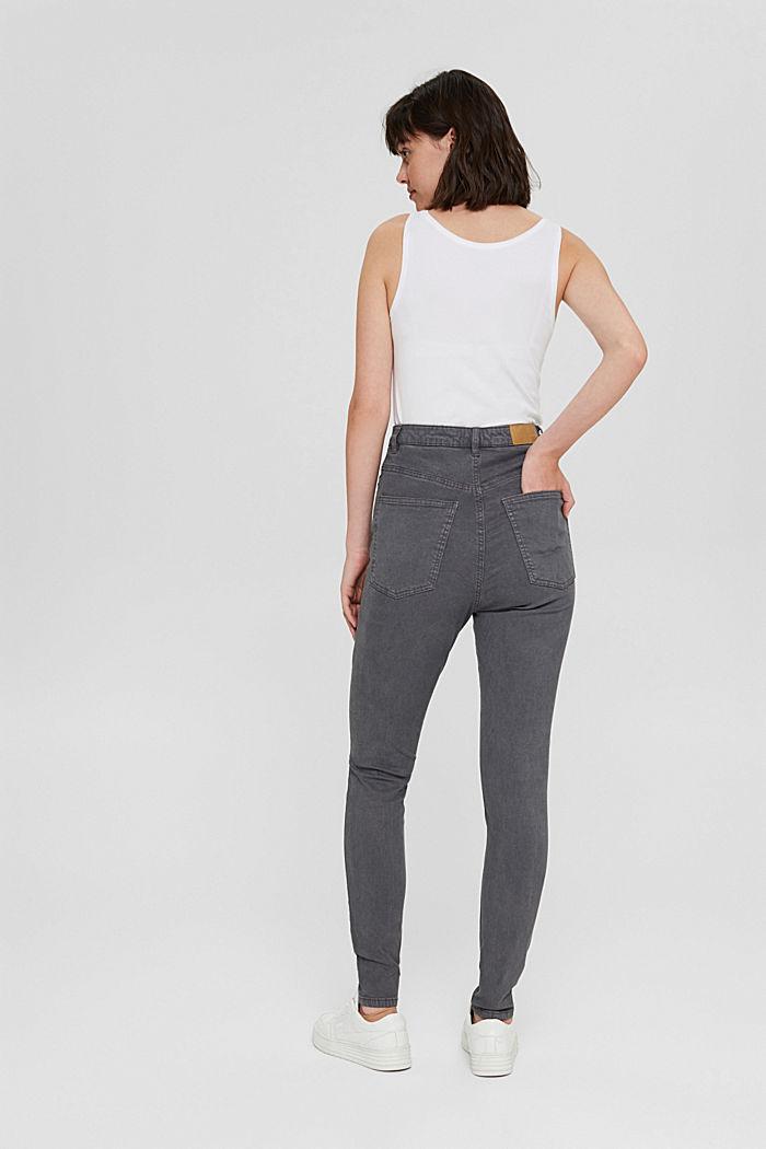 Jeans med extra hög midja och ekologisk bomull, GUNMETAL, detail image number 3