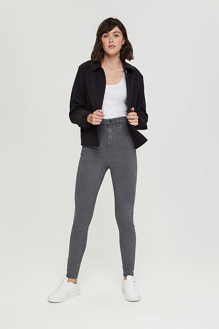 Jeans med extra hög midja och ekologisk bomull, GUNMETAL, detail image number 1