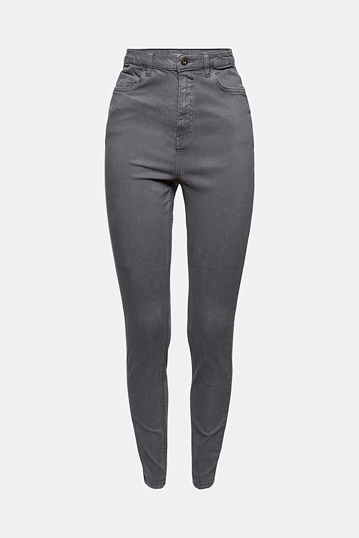 Jeans med extra hög midja och ekologisk bomull, GUNMETAL, detail image number 5