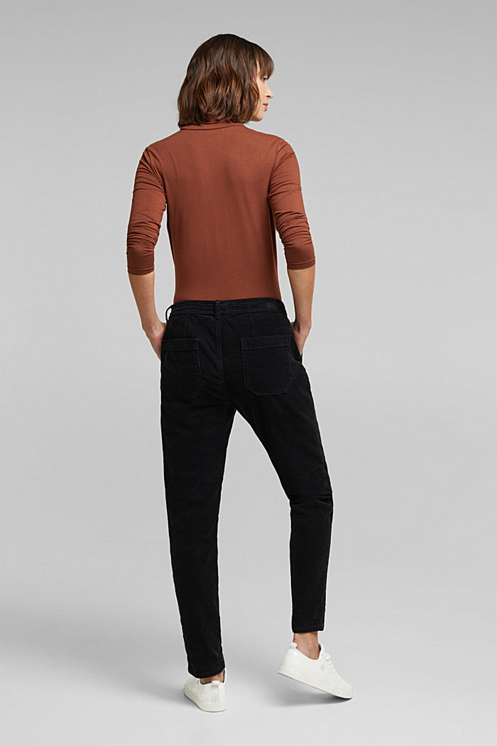 Stretch cord chinos, BLACK, detail image number 3