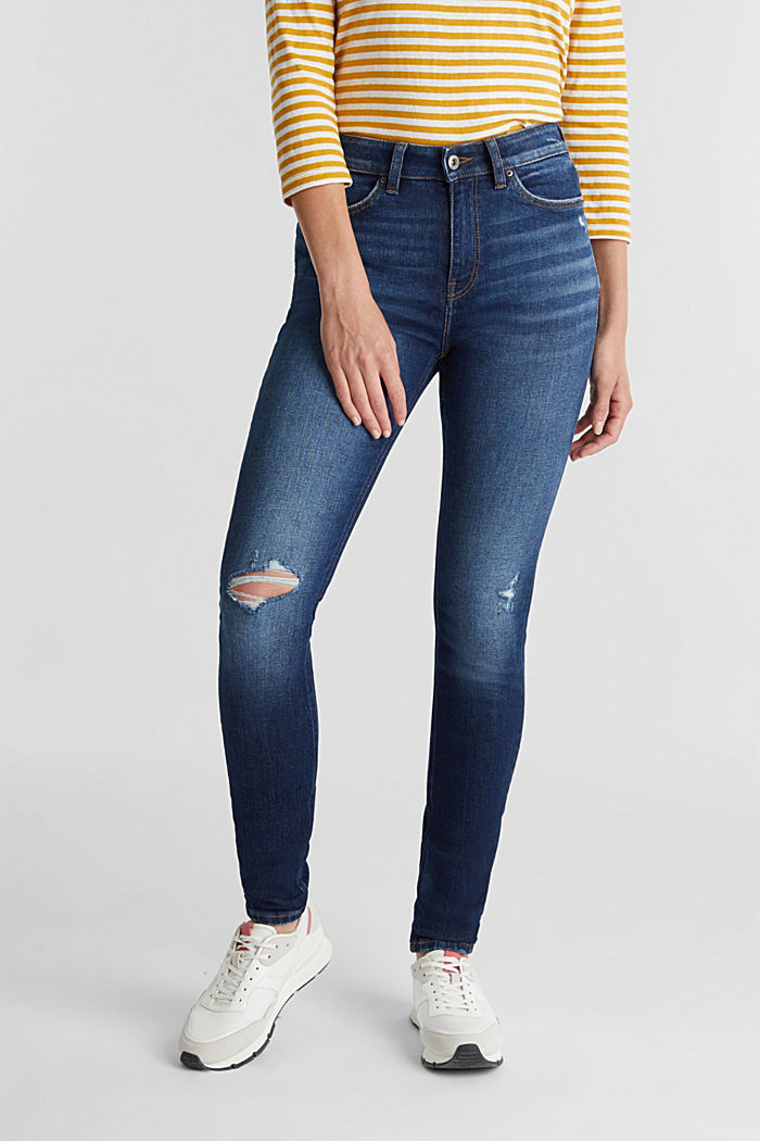 Skinny jeans with organic cotton, BLUE DARK WASHED, detail image number 0