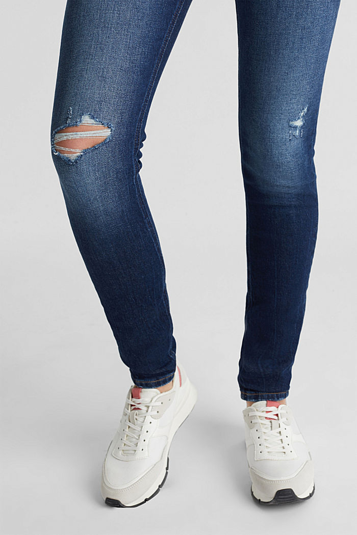 Skinny jeans with organic cotton, BLUE DARK WASHED, detail image number 2