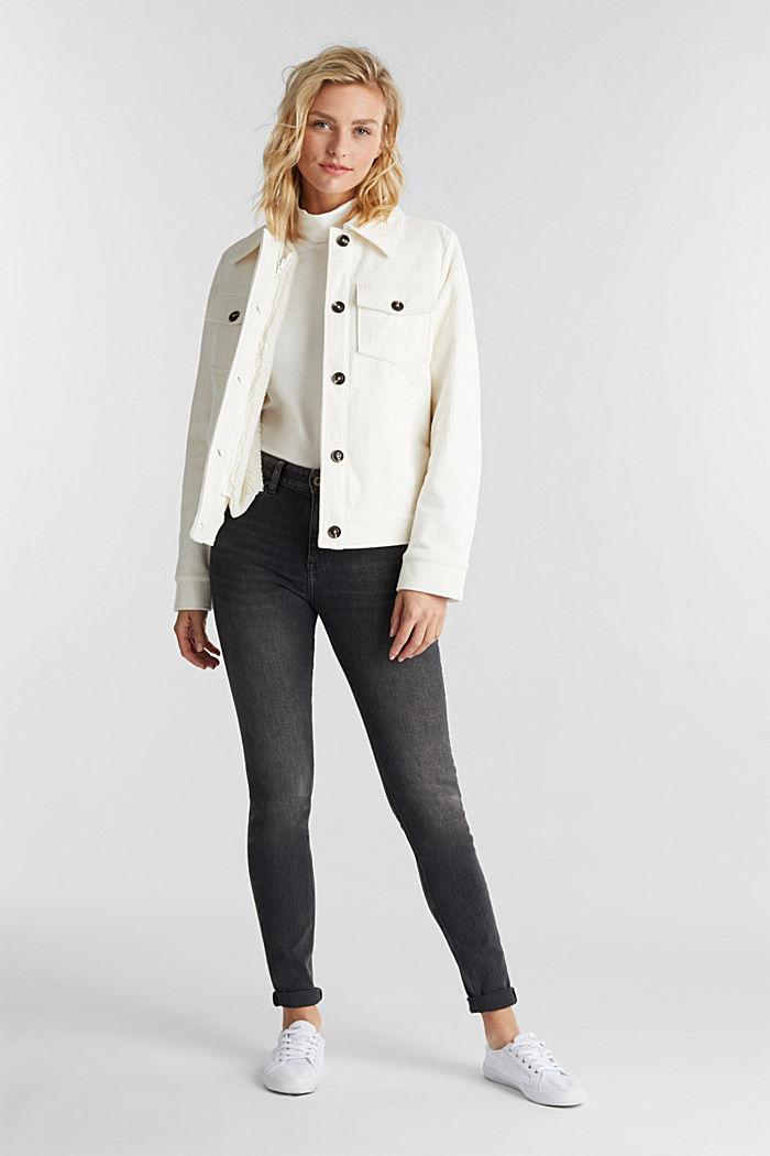 Organic cotton skinny jeans, BLACK MEDIUM WASHED, detail image number 1