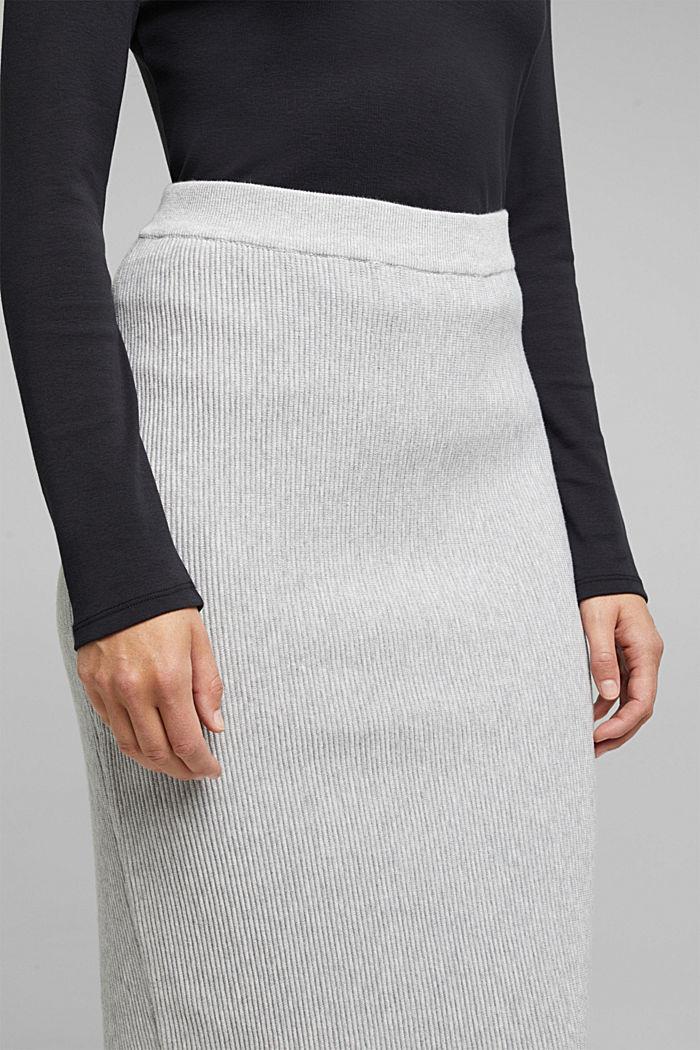 Gebreide rok met biologisch katoen, LIGHT GREY, detail image number 2