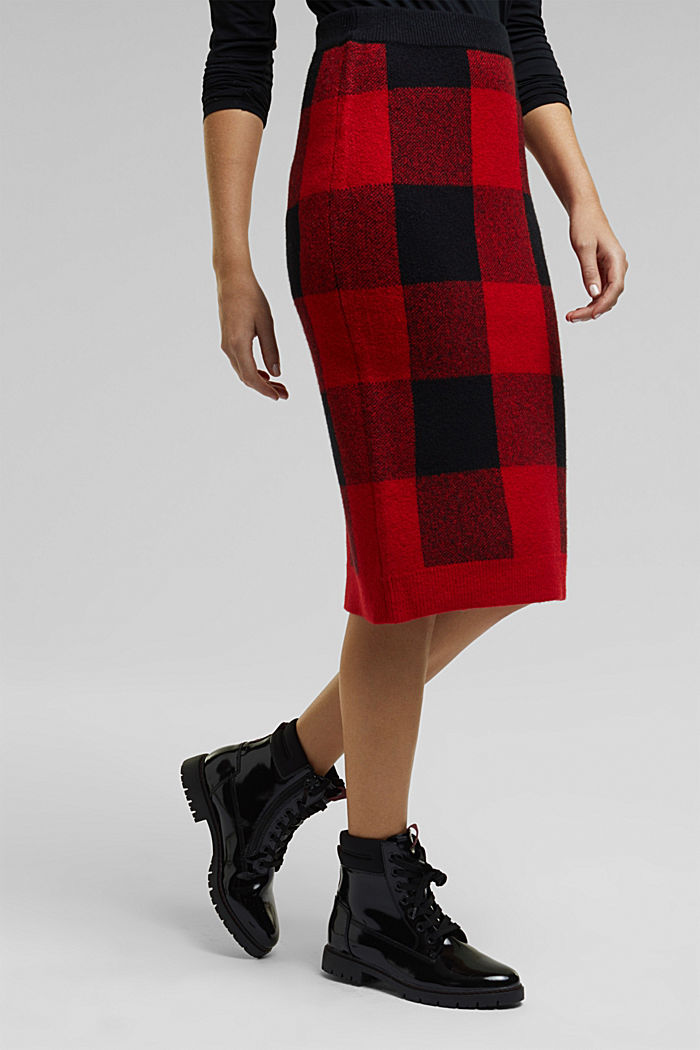 Wool blend: Checked knit skirt, RED, detail image number 0