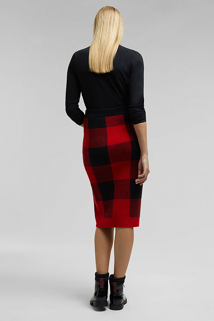 Wool blend: Checked knit skirt, RED, detail image number 3