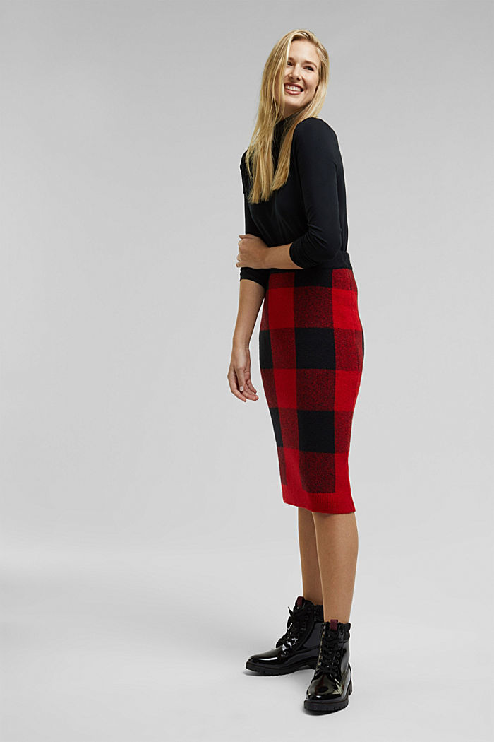Wool blend: Checked knit skirt, RED, detail image number 1