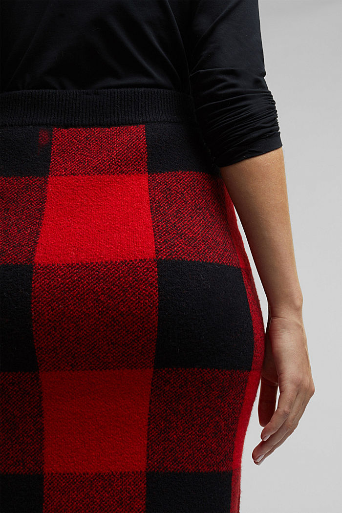 Wool blend: Checked knit skirt, RED, detail image number 2