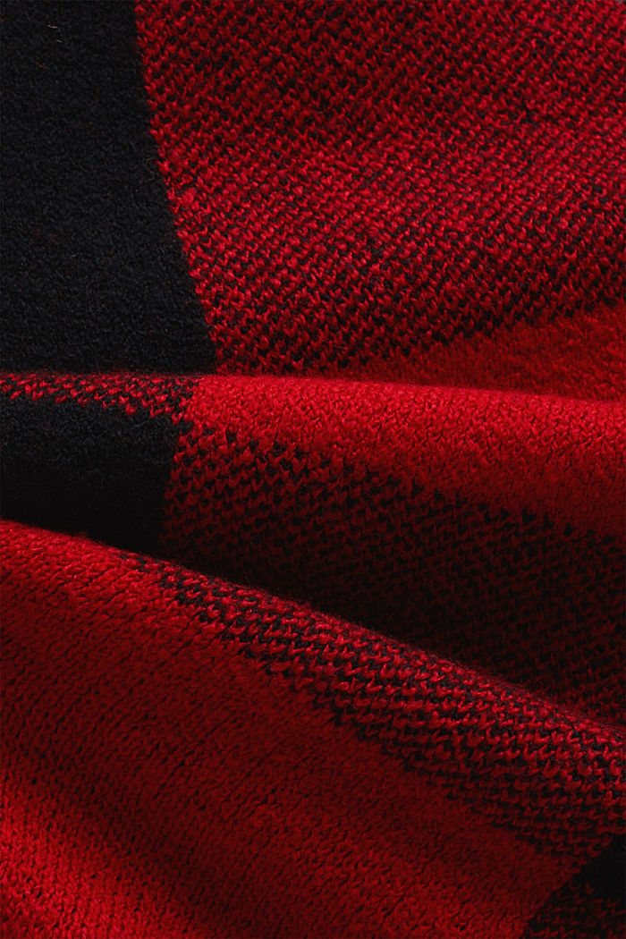 Wool blend: Checked knit skirt, RED, detail image number 4