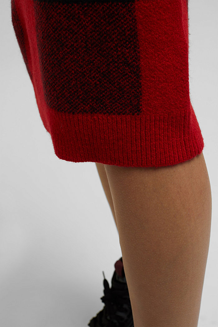 Wool blend: Checked knit skirt, RED, detail image number 5