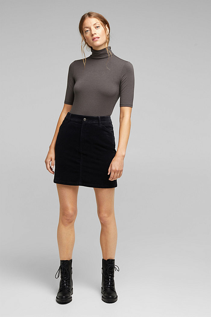 Corduroy mini skirt, BLACK, detail image number 1
