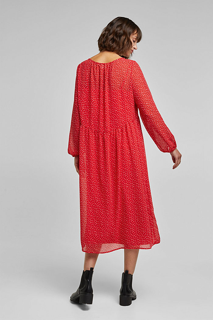 Recycled: midi dress made of chiffon, RED, detail image number 2