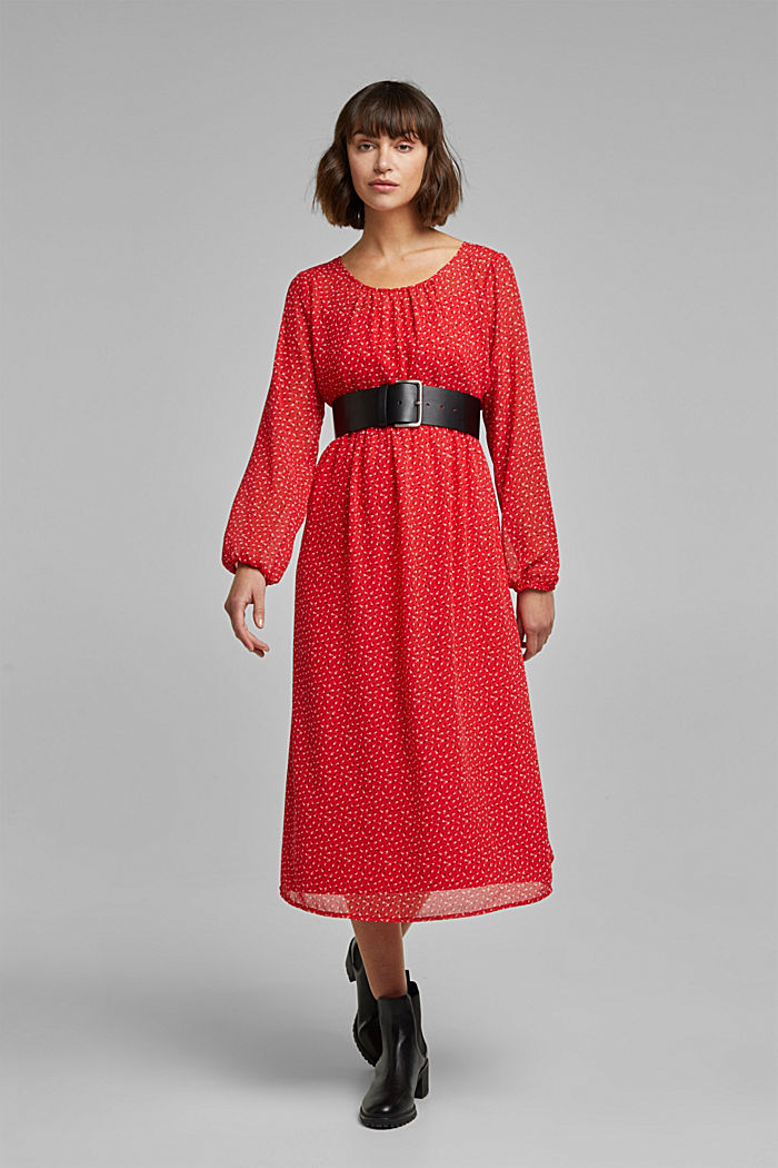 Recycled: midi dress made of chiffon, RED, detail image number 1
