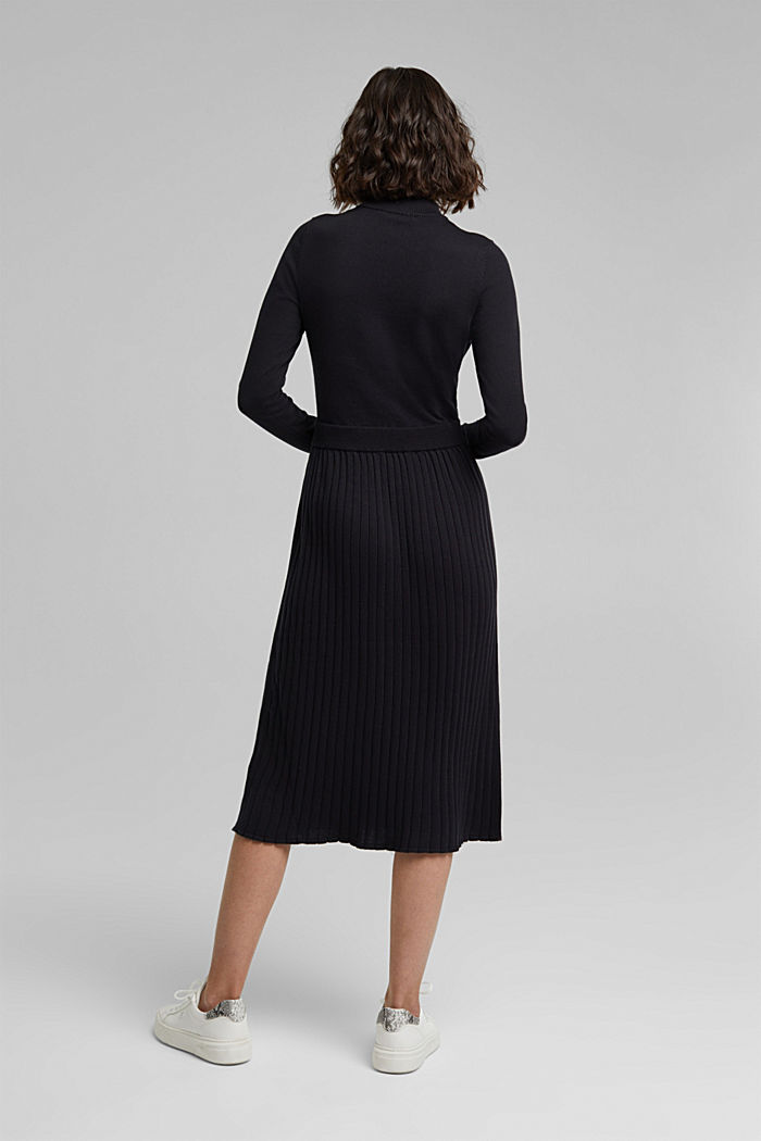 Knitted dress with organic cotton, BLACK, detail image number 2