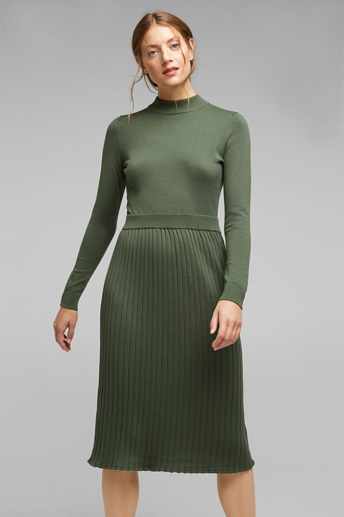 Knitted dress with organic cotton, LIGHT KHAKI, detail image number 0