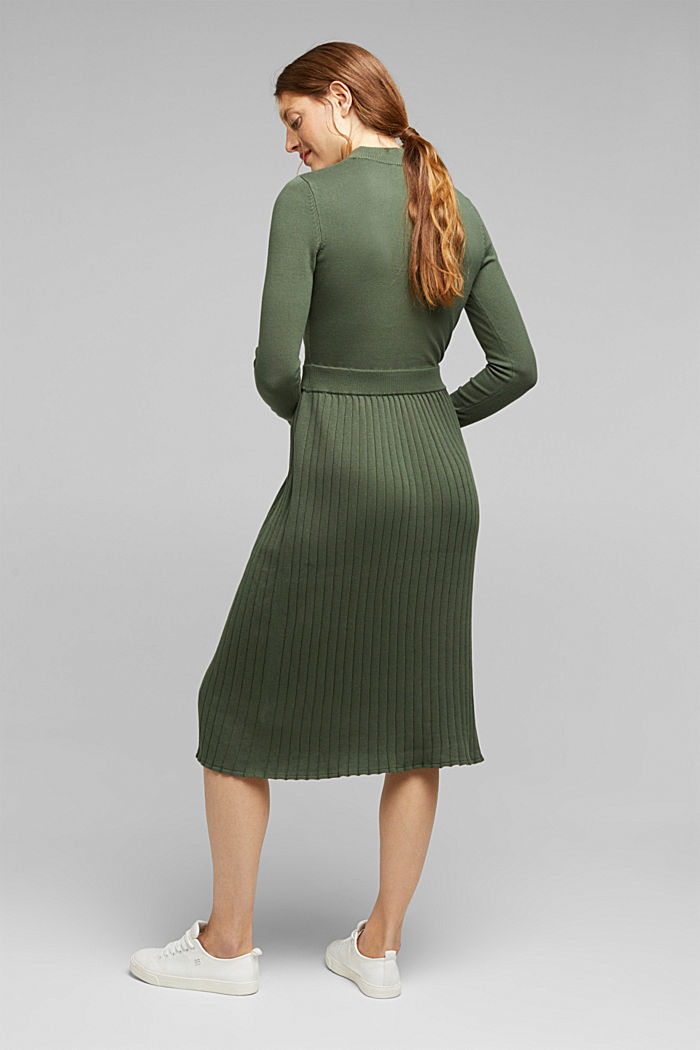 Knitted dress with organic cotton, LIGHT KHAKI, detail image number 2