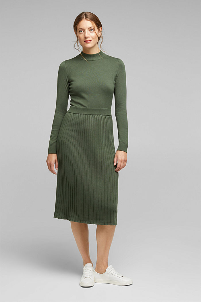 Knitted dress with organic cotton, LIGHT KHAKI, detail image number 1