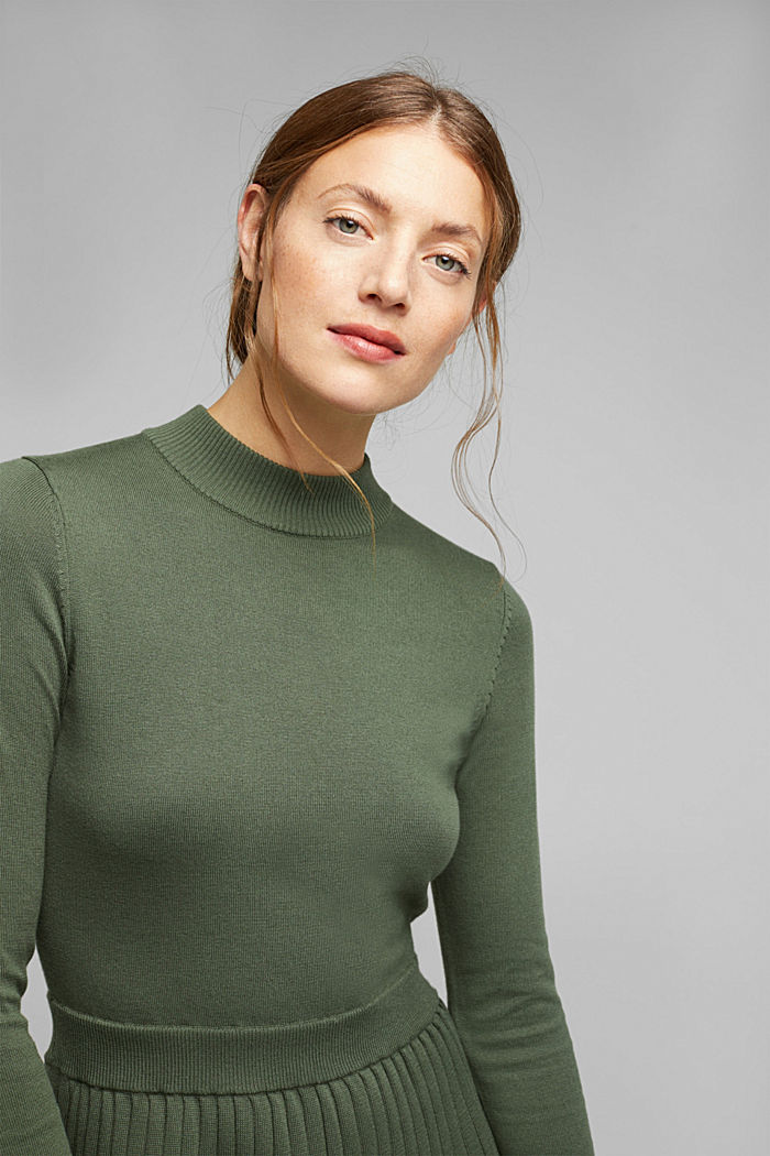 Knitted dress with organic cotton, LIGHT KHAKI, detail image number 5