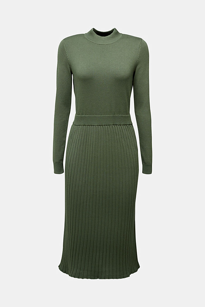 Knitted dress with organic cotton, LIGHT KHAKI, detail image number 6