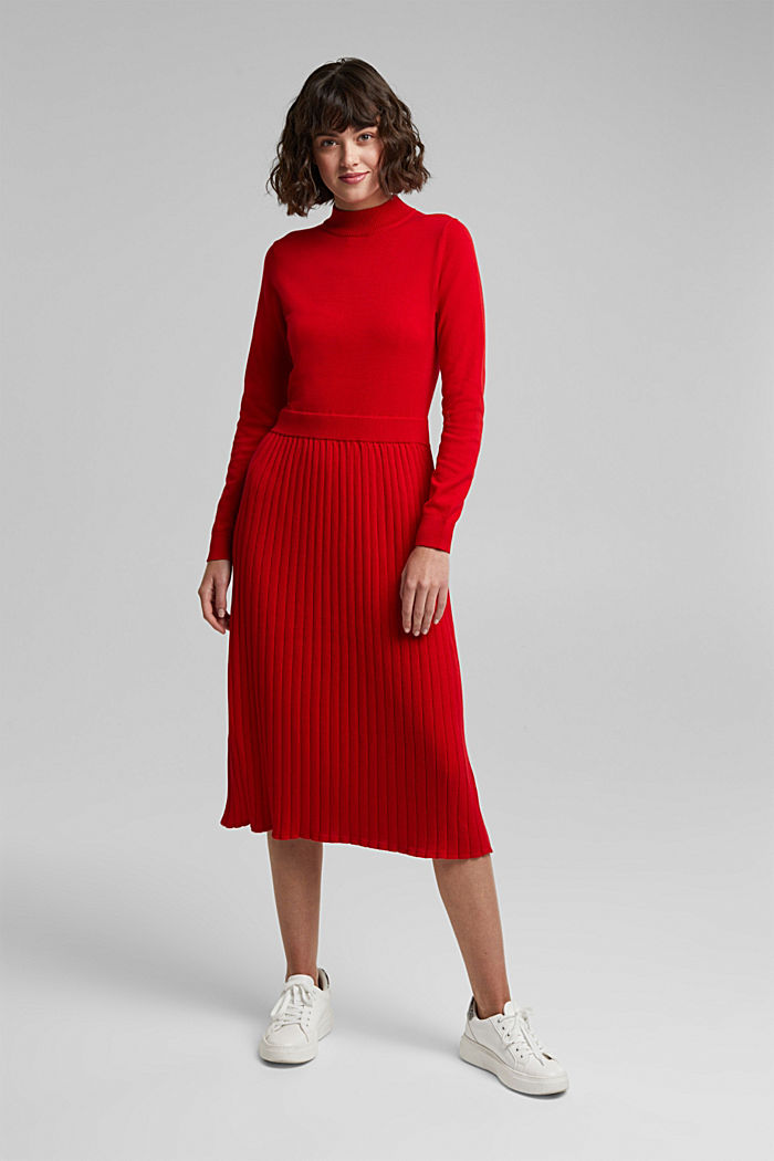 Knitted dress with organic cotton, RED, detail image number 0