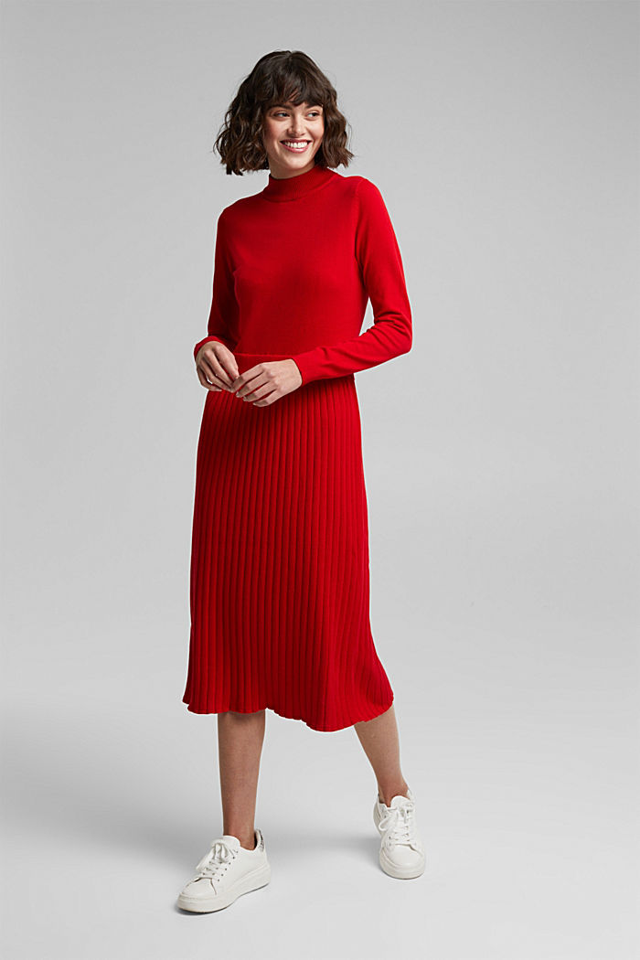 Knitted dress with organic cotton, RED, detail image number 1